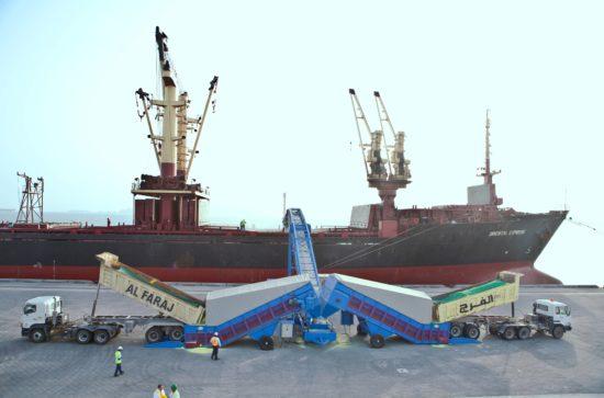 Mobiler SAMSON Schiffsbelader mit 2 Samson Materialförderern im Hafen