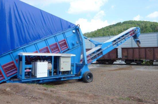 Mobiler Samson® Materialförderer Beladung Eisenbahnwaggons