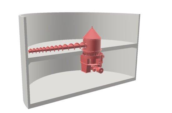 AUMUND Rotating Screw Discharger Type RSD in a silo (Artwork by AUMUND)