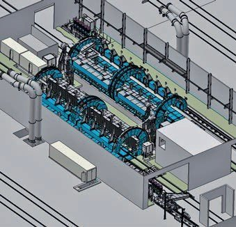 3D view of twin cage Tandem Tippler systems