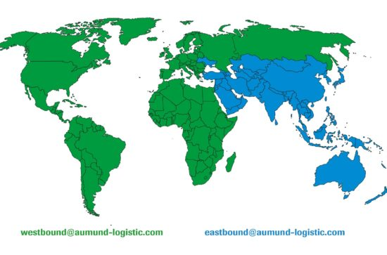 AUMUND Logistic World Map East - and Westbound Area