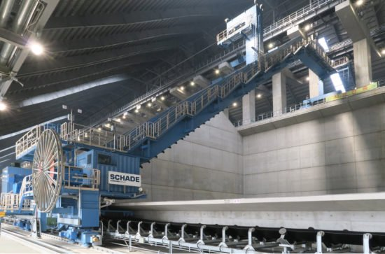 SCHADE Semi-Portal Reclaimer during commissioning (example, photo SCHADE)