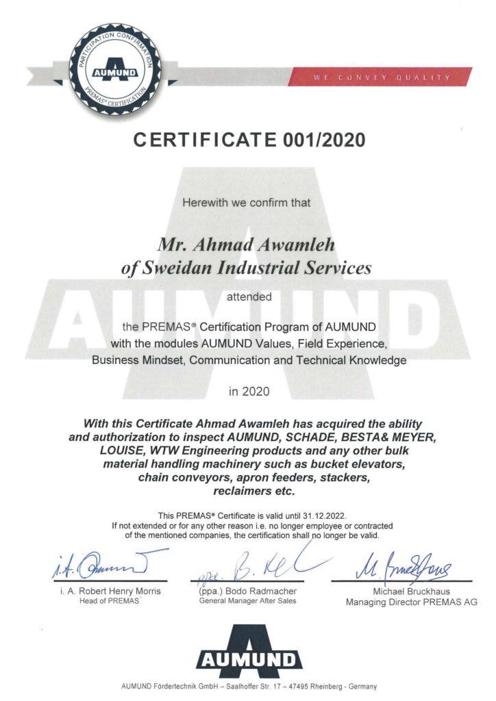 PREMAS Inspector Certificate